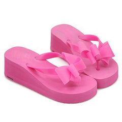 Deep Pink Butterfly Knot Wedges Heel Slippers Flip-Flop For Women
