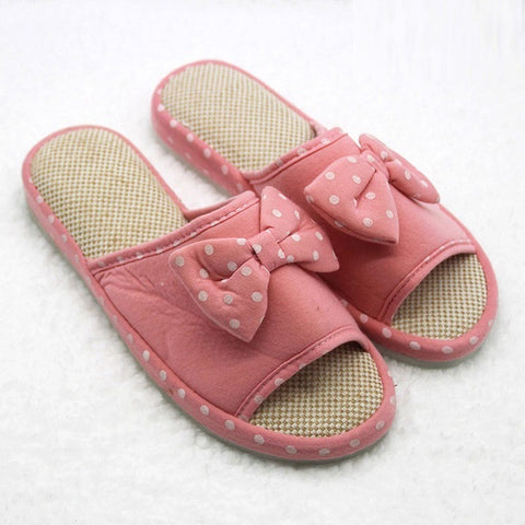 Pink Floral Pattern Bow-Tie Deco Eva Insole Slippers Flip-Flop For Women
