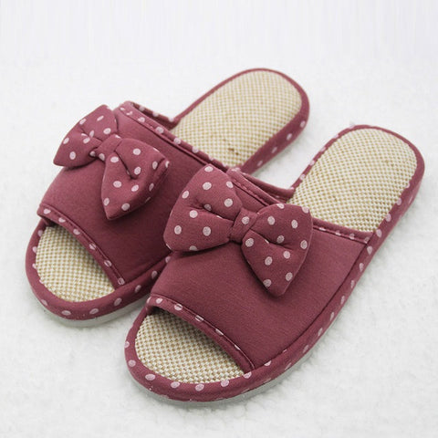Maroon Floral Pattern Bow-Tie Deco Eva Insole Slippers Flip-Flop For Women