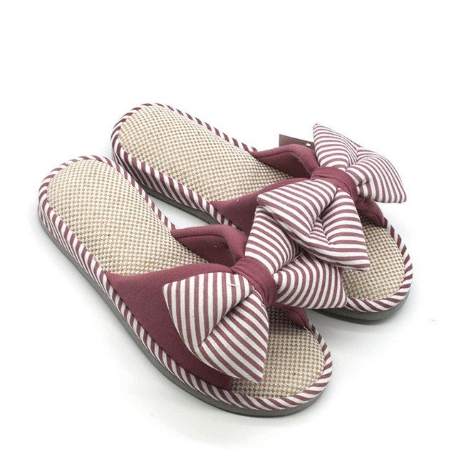 Striped Floral Pattern Bow-Tie Deco Eva Insole Slippers Flip-Flop For Women