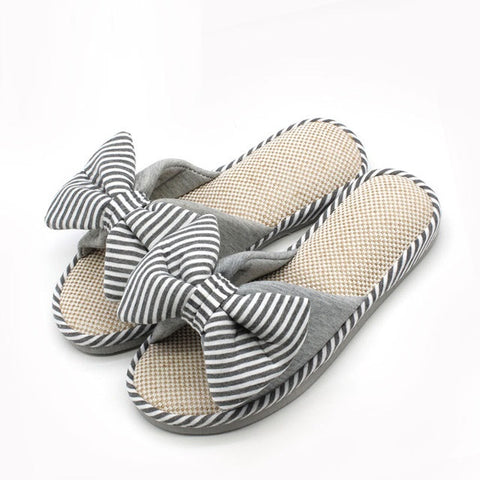 Striped Grey Floral Pattern Bow-Tie Deco Eva Insole Slippers Flip-Flop For Women