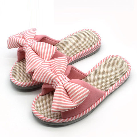 Striped Pink Floral Pattern Bow-Tie Deco Eva Insole Slippers Flip-Flop For Women