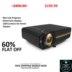 Mini LCD Projector Wired Sync Display 1200 Lumens For Home Theatre