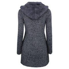 Full Sleeve Regular Fit Single Breasted Button Decoration Jacket Coat For Women - Grey