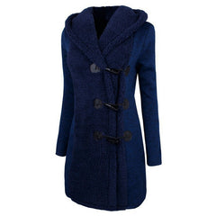 Full Sleeve Regular Fit Single Breasted Button Decoration Jacket Coat For Women - Blue