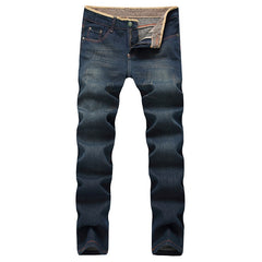 Mid Waist Loose Fit Softener Fabric Zipper Fly Closure Jeans For Men