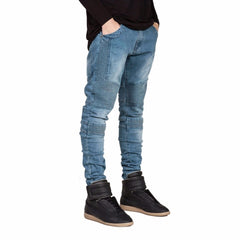 Snow Washed Decoration Softener Fabric Zipper Fly Closure Jeans For Men