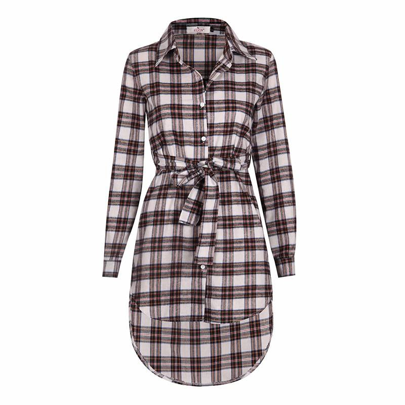 Full Sleeve Plaid Pattern Turn Down Collar Acrylic Material Blouse Shirt For Women
