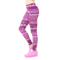 High Waist Print Pattern Knitted Spandex Polyester Fabric Leggings For Women - A5