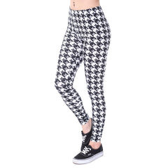 High Waist Print Pattern Knitted Spandex Polyester Fabric Leggings For Women - A6