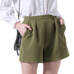 Mid Waist Zipper Fly Closure Pocket Decoration Polyester Fabric Short For Women
