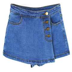 High Waist Solid Pattern Button Fly Closure Button Decoration Skort Short For Women