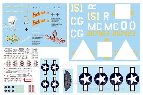 FlightLine P-38L Decal Sheet - Green FLW301207