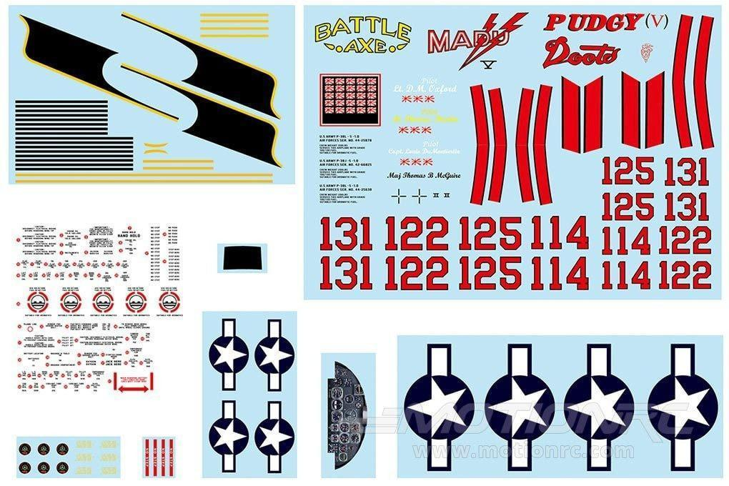 FlightLine P-38L Decal Sheet - Silver FLW301107