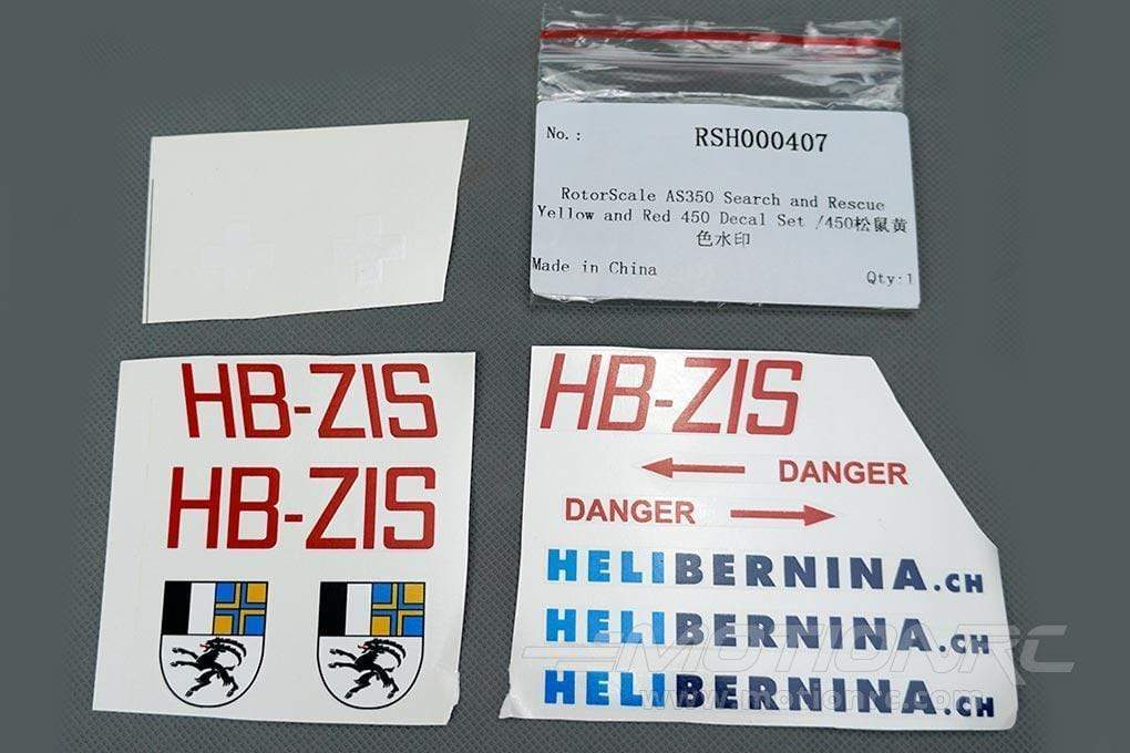 RotorScale AS350 Alpine Yellow and Red 450 Decal Set RSH000407