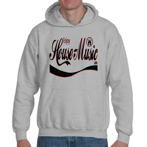EnjoyHouseMusic Black Logo Adult Hooded Sweathshirt