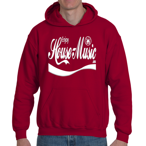 EnjoyHouseMusic White Logo Adult Hooded Sweatshirt
