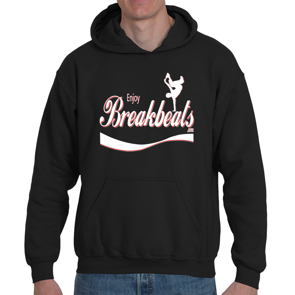 EnjoyBreakBeats White w/ Red Logo Adult Hooded Sweatshirt