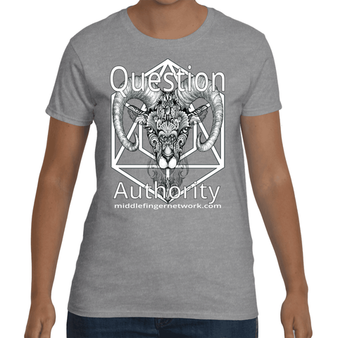 "MiddleFingerNetwork.com Womens Short Sleeve T-Shirt ""Question Authority"""