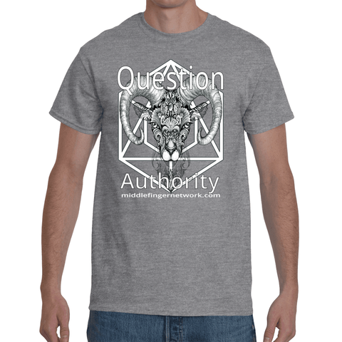 "MiddleFingerNetwork.com Men's Short Sleeve T-Shirt ""Question Authority"""