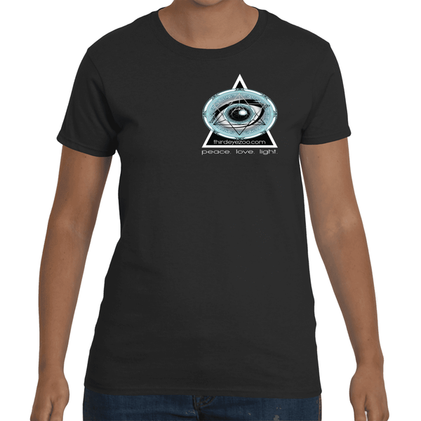Authentic Eyentelligence ThirdEyeZoo GeoMeTricks Small Logo Front & Back Women's Short Sleeve T-Shirt