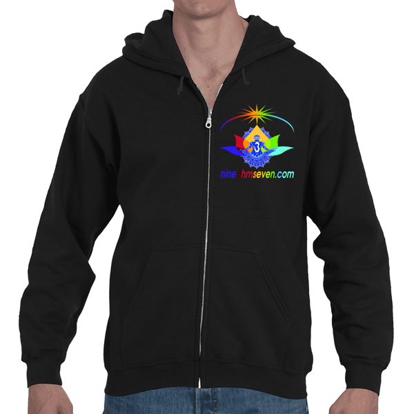Nine Ohm Seven.com Lotus Light Worker Adult Hooded Full Zip Sweatshirt