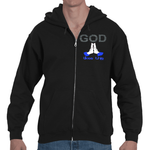 Prayer. God Likes This. Adult Hooded Full Zip Sweatshirt