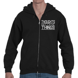 Thoughts Become Things ThirdEyeZooDotCom, Manifest. Adult Hooded Full Zip Sweat Shirt