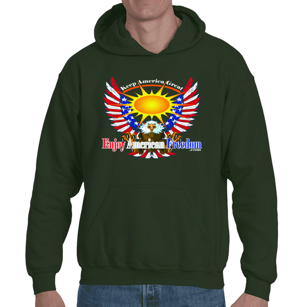 Free As A Bird, Keep America Great! Adult Hooded Sweatshirt
