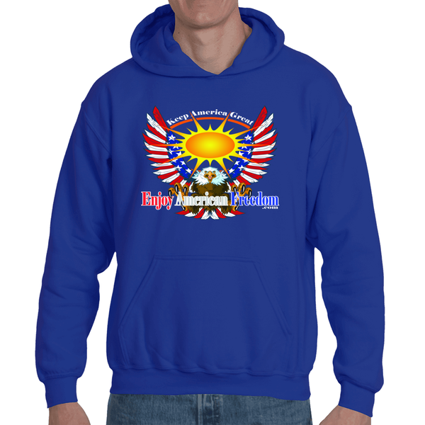 Free As A Bird, Keep America Great! Adult Hooded Sweatshirt Large Logo Front/Back