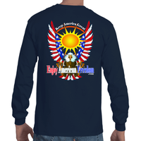 Free As A Bird, Keep America Great!  Long Short Sleeve T-Shirt F/B