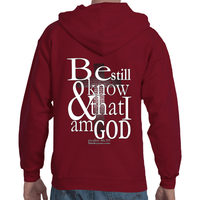 Be still and know that i am God Adult Hooded Full Zip Sweatshirt