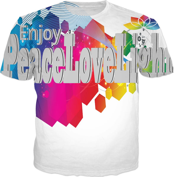 Enjoy Peace Love and Light Propagate Gray Sleeves T-Shirt