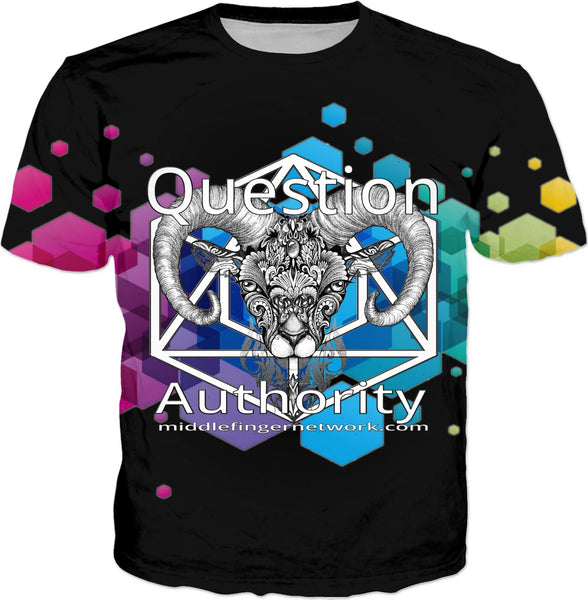 Question Authority: MiddleFingerNetworkDotCom T-Shirt