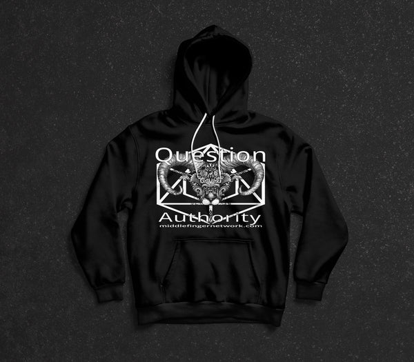 "MiddleFingerNetwork.com Adult Hooded Sweatshirt ""Question Authority"""