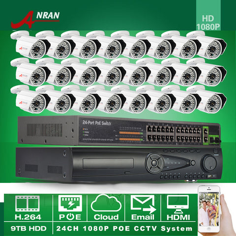 ANRAN 1080P POE Camera 24CH HDMI NVR 24CH POE Switch CCTV System With 9TB HDD