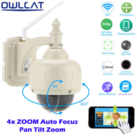 OwlCat Wireless IP Camera Outdoor HD 720P Dome CCTV 4X Optical Zoom