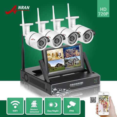 ANRAN HD Security 4CH Wireless NVR 7''LCD Monitor Surveillance Camera System.