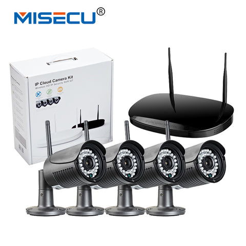 MISECU Plug-Play Wireless NVR 4pc 720P Outdoor IR Night Vision Wifi Camera