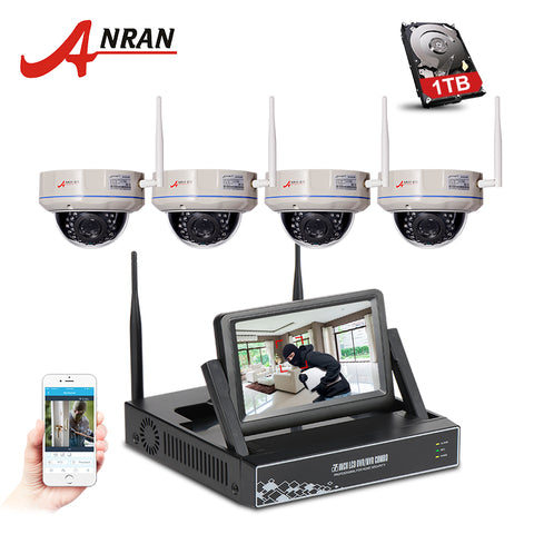 ANRAN Wireless 4CH NVR Kit 7 Inch Screen 960P IR Night Vision Fixed Dome Cameras