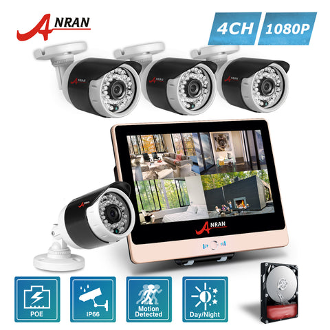 ANRAN 1080P 4CH POE NVR LCD Monitor Home CCTV System With HDD