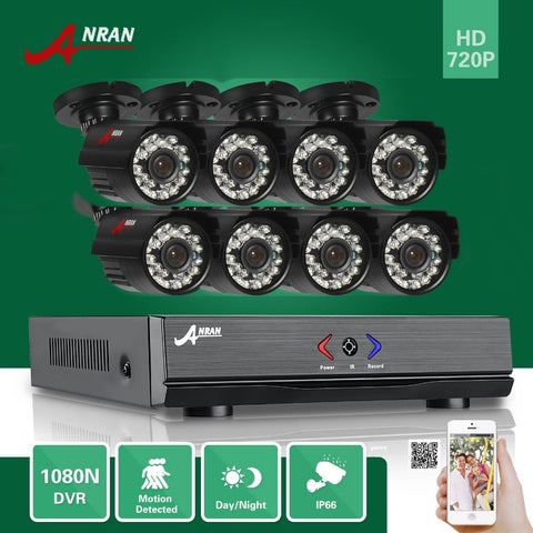 ANRAN 8CH DVR Kit 720P Day Night Outdoor Waterproof Security System
