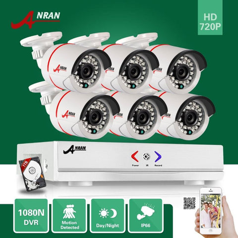 ANRAN 8CH 1080N DVR 1.0MP 720P Outdoor Home Surveillance Security Camera System With 1TB HDD