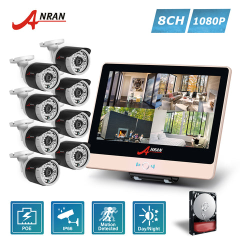 ANRAN 1080P 8CH POE NVR 12 Inch LCD Monitor  Home CCTV System