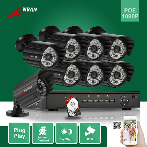 ANRAN 1080P 8CH NVR POE Video Surveillance Camera System 3TB HDD