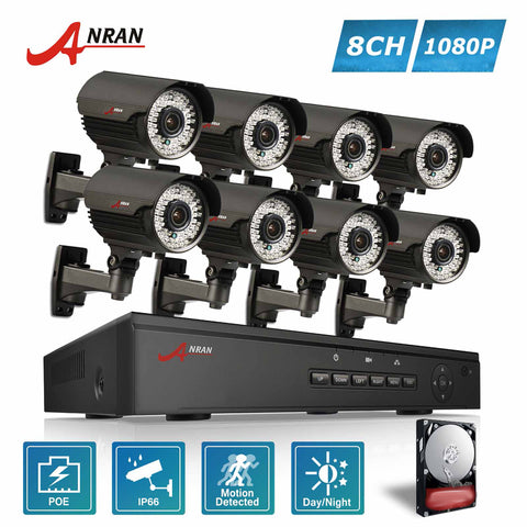 ANRAN 1080P 8CH POE NVR Security System