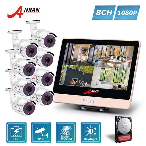 ANRAN 4CH 1080P 12 Inch LCD NVR POE Home Security System