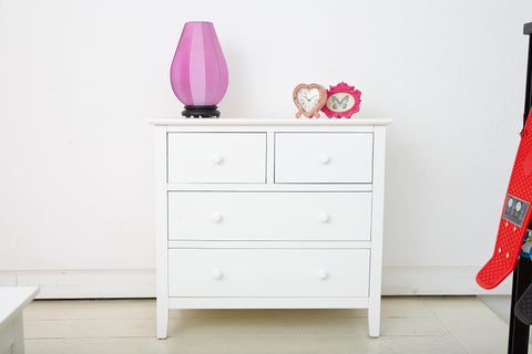 2+2 Chest of Drawers in White Wood