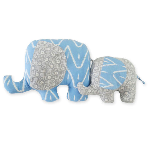 DUDUK Elephant Mom & Baby (Blue/Zigzag and Grey/Rainbows)