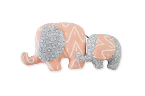 DUDUK Elephant Mom & Baby (Salmon/Zigzag and Grey/Rainbows)